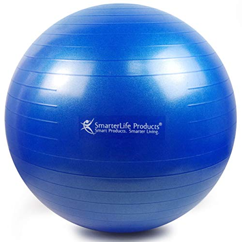 Exercise Ball for Yoga, Balance, Stability from SmarterLife - Fitness, Pilates, Birthing, Therapy, Office Ball Chair, Classroom Flexible Seating - Anti Burst, Non Slip + Workout Guide (Blue, 65cm) by SmarterLife Products (Image #1)