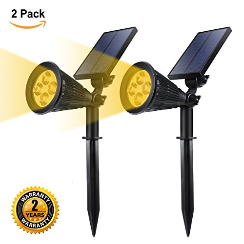 GreenPro Solar Powered LED Garden Spotlight, ProGreen 2-in-1 Waterproof 4 LED Solar Spotlight Adjustable Landscape Solar Lighting Wall Light for Outdoor Garden Decorations (2 Pack, 3000K Warm White)