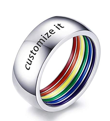 Mealguet Jewelry Personalized Stainless Steel 8mm Width Polished Domed Rainbow Stripe Flag Inside Gay Pride Wedding Rings Bands,Size 9