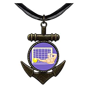 Chicforest Bronze Retro Style Olympics Water Polo player defending Anchor Pendant