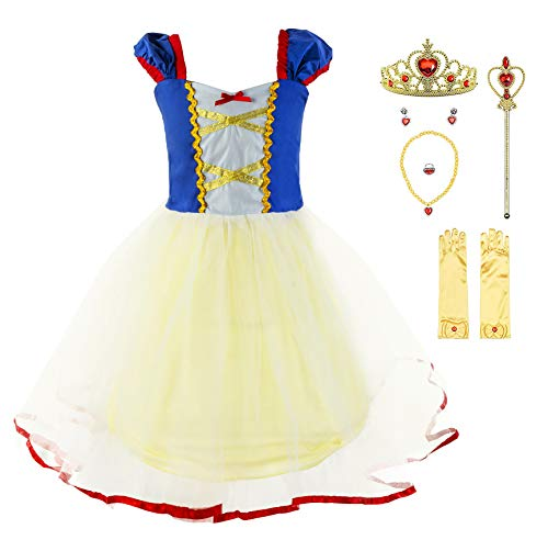 Princess Cinderella Rapunzel Little Mermaid Dress Costume for Baby Toddler Girl (5, Snow White with Accessories) -