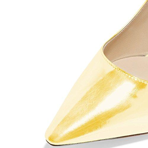 Fsj Women Classic Dress Pumps Metallizzati Tacchi Alti In Similpelle Slip On Scarpe Formali Taglia 4-15 Us Giallo