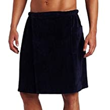 Men's %100 Cotton Terry Cotton Bath Spa Mens Wrap Towel with Velcro on waist with Pocket, One Size, Navy Blue Color