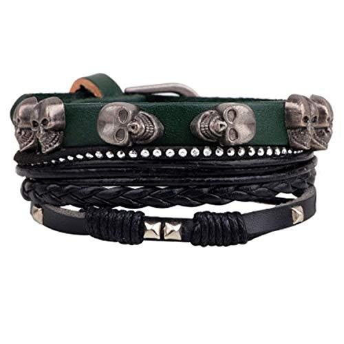 Cool Cj Bead Leather Bracelets Bangles Woven 3/4 Pcs 1 Set Multilayer Wristband Vintage Handmade Bracelet Men
