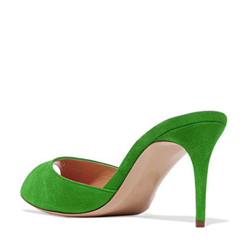 Kompani Kvinnor Faux Mocka Hög Klack Mulor Peep Toe Slip På Tillfälliga Sandaler Glider Skor Storlek 4-15 Oss Grönt