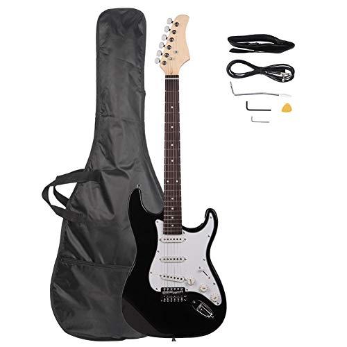 Gati-way Electric Guitar Wood Travel Guitar Rosewood Fingerboard Electric Guitar Black/White ()