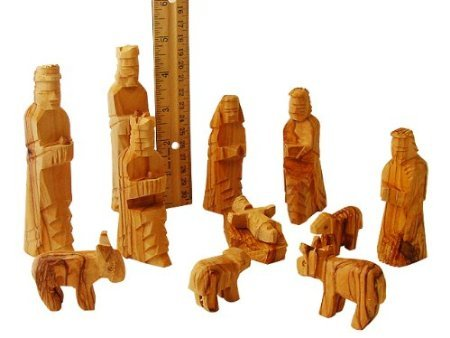 Large Olive Wood Nativity Set 12 pcs with 3-D Animals - 5 Inch Set