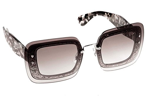 Miu Miu Women's 0MU 01RS Black/Grey Glitter/Grey Gradient - Miu Miu Sunglass