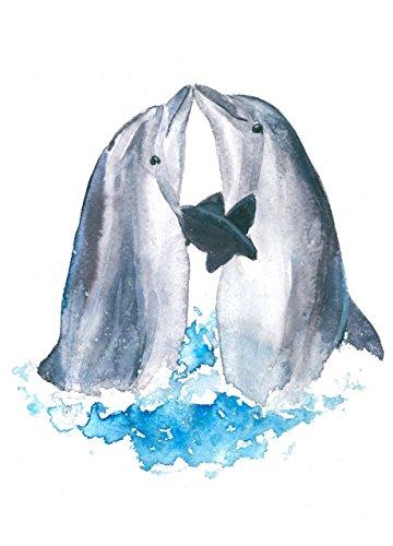 10 Photo Dolphins (Dolphin art #A059. Dolphin wall art (8x10).Dolphin painting.Dolphin artwork.Dolphin pictures.Dolphin wall decor.Pictures of dolphins.Sea animal art.)