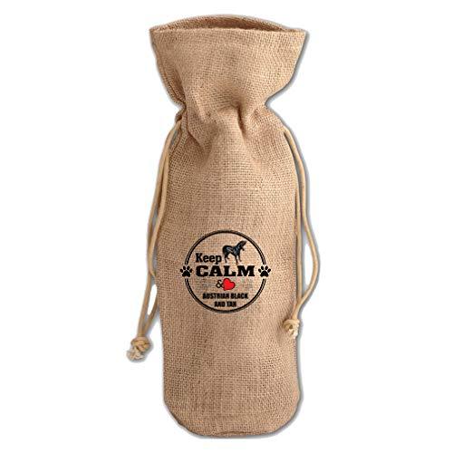 Keep Calm Love Austrian Black Tan Hound Jute Burlap Wine Drawstring Bag