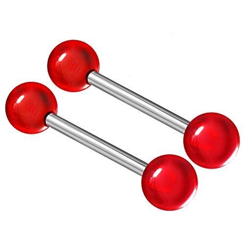 (2PCS Stainless Steel Red Tongue Rings Stud Bar Nipple Barbell 14 Gauge 5/8 16mm 6mm Ball Nipple Bars Piercing Jewelry 2513)