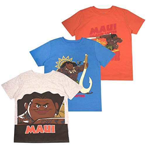Disney Moana Toddler Boys' T-Shirt (Pack of 3) 2T Orange Cute Graphic Toddler T-shirt