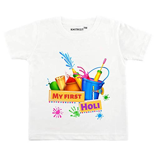 Buy Unisex Tshirt For Holi Festival White Color Round Neck Cotton Tshirt My First Holi And Watergun Ballon At Amazon In