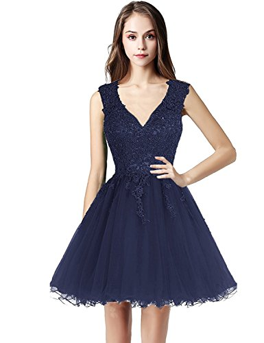 096047db6d8 Belle House Navy Blue Tulle Homecoming Dresses Short for Juniors Cheap 2018  Prom Dress Deep V Neck Lace Appliqued Graduation Ball Gown