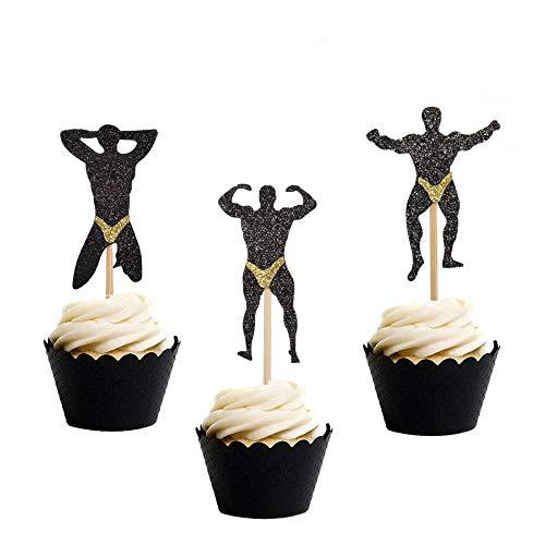 Gym Theme Fitness Cupcake Toppers Glitter Gymnastics Birthday