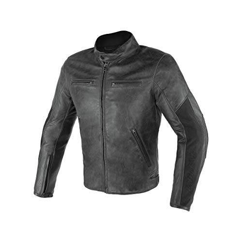 Dainese Stripes D1 Perforated Leather Jacket (54) (Black/Black)