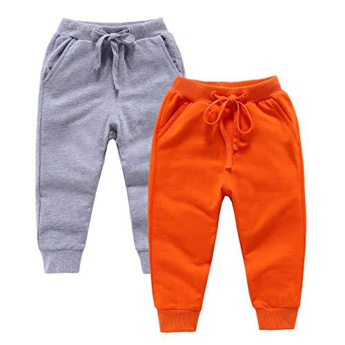 ALALIMINI Toddler Sweatpants 2Pack Cotton Active Jogger Casual Elastic for Boys&Girls Unisex Kids Pants(Gray&Orange 100CM/3T)
