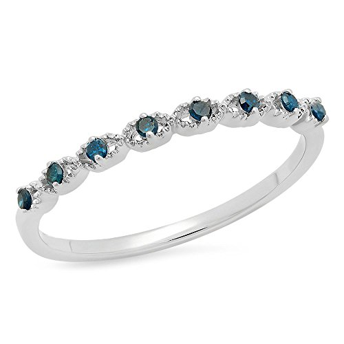 0.10 Carat (ctw) Sterling Silver Round Blue Diamond Wedding Stackable Band Ring 1/10 CT