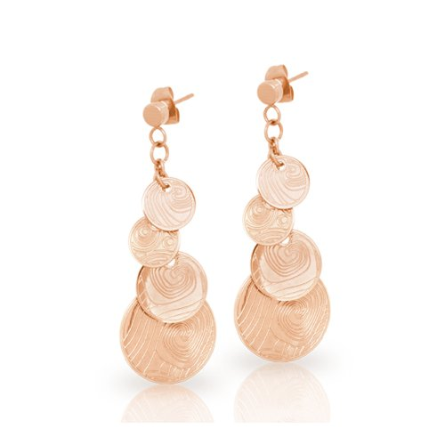 Abstract Wave Chic Surfer Rose Gold Plated Cascading Circle Drop Earrings