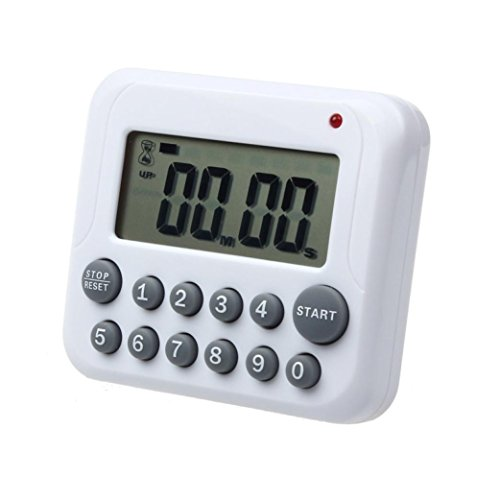 (DZT1968 White LCD Digital 99 Minutes Kitchen Cooking Timer Clock Loud Alarm With Stand )