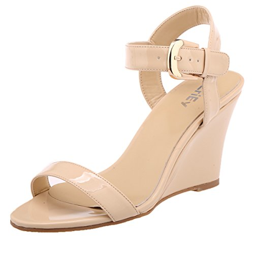 ZriEy Women's Classic Sexy Comfort wedge Mid Heel Sandals for Halloween Christmas Party Evening Nude size 9