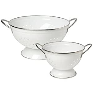 2 Piece Stainless Steel Colander Set Color: White