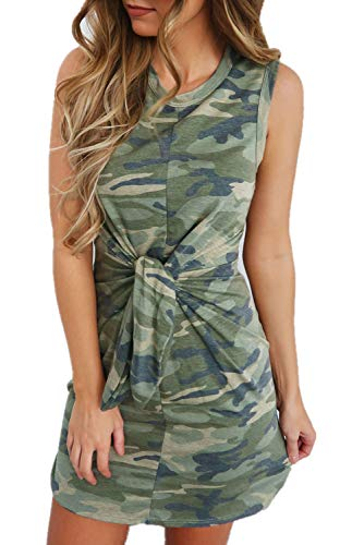 Avilisn Women's Summer Casual Short Tie Sleeve Camo Camouflage Print Mini Dresses Stretch Swing Dress for Work (Camo, Large)