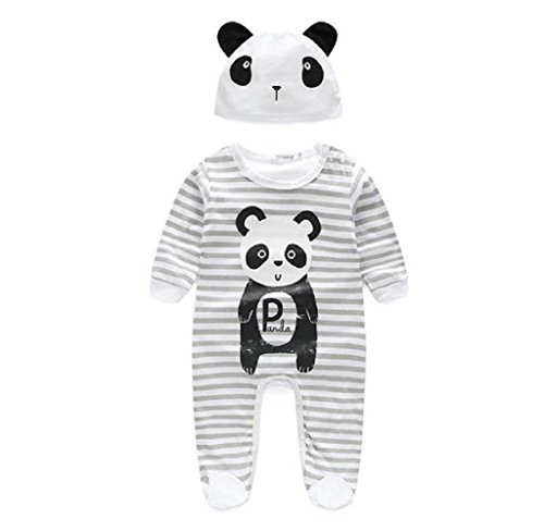 Baby Bodysuits,Sumilulu Baby Boy Girl Clothes Animal Rompers With Hat Long Sleeve Jumpsuits (0-3 months)