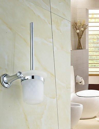 XY&XH Toilet Brush Holder ,Elegant Silver Crystal Brass Toilet Brush Holder by XY&XH
