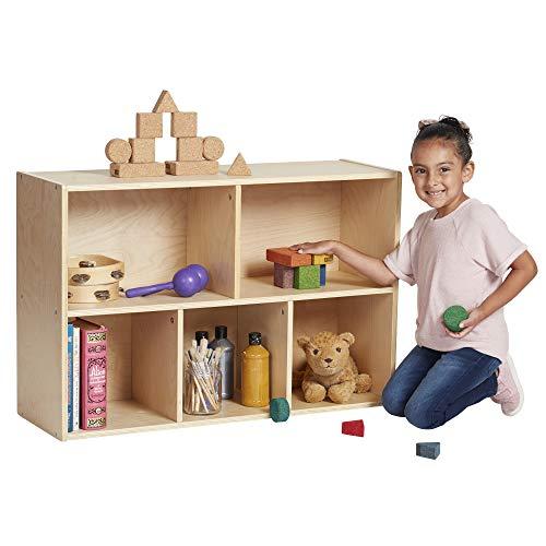 ECR4Kids Birch Streamline Storage Cabinet | Hardwood Classroom & Home Storage Solution for Kids | 5-Compartment, 24