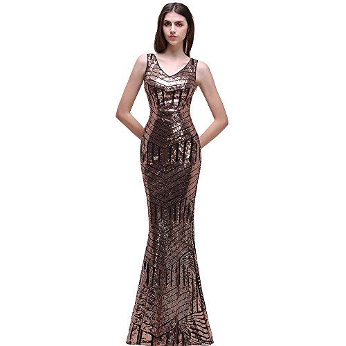 Ballkleider Lang Abendkleider Gold Kleider Babyonline® 2017 Damen Ärmellos Pailletten Mit qXwx4xfI