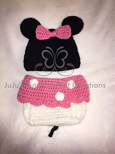 Crocheted Handmade Baby Newborn Girl Mouse Outfit - Halloween Costume - Photo Prop - Baby Shower Gift - Baby Girl - Hat - Diaper Cover - Skirt - Pink - Baby Clothes ()
