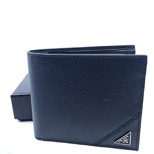 Prada Orizzontale Black Vitello Micro Grain Leather Iconic Triangle Logo Wallet 2MO513