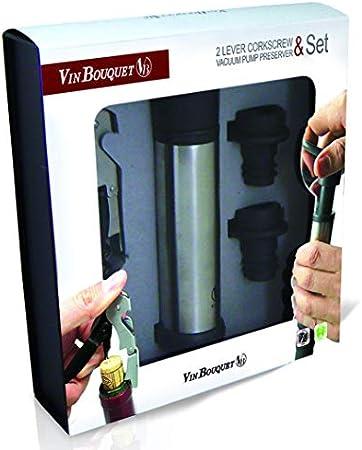 Vinbouquet sacacorchos 2 Tiempos & Bomba FI 006 Set Vino, Acero Inoxidable, centimeters