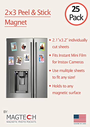 2x3 Magnetic Peel & Stick Photo Fridge Magnets | 25 Pack | Perfect for Instax Mini Film -