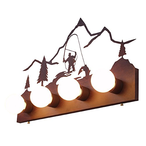- Steel Partners Lighting 3436-4-OI-AM Flat Vanity-Fly Fisherman (4 Lights) with Old Iron Finish and Amber Mica Lens