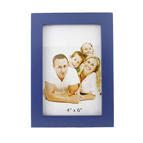 4x6 inches Classic Rectangular Desktop Family Picture Photo Frame with Glass Front (Classic Dark Blue)