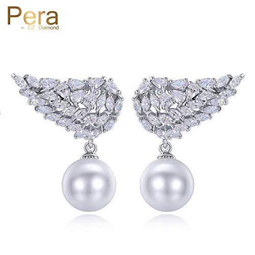 (Luxury Silver Color Simulated Pearl Jewelry Accessories | Big Marquise Wings Shape Long Earrings for Women)