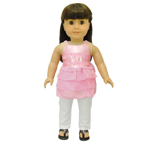 Doll Clothes - Pink Tank Top Shirt Blouse Outfit Set Fits American Girl Doll, My Life Doll and 18 inch dolls