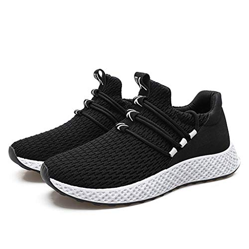 Vowes Men Weaving Running Sneakers Casual Solid Color Round Head Lace-up Breathable Mesh Outdoor Flat Sport Shoes ()