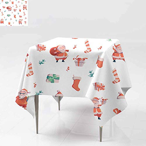 (AFGG Washable Square Tablecloth,Seamless Pattern with Santa Claus Presents Bell hat an,Dinner Picnic Table Cloth Home Decoration 54x54 Inch d Sock s)
