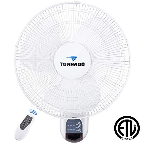 - Tornado 16 Inch Digital Wall Mount Fan - Remote Control Included - 3 Speed Settings - 3 Oscillating Settings - 65 Inches Power Cord - ETL Safety Listed