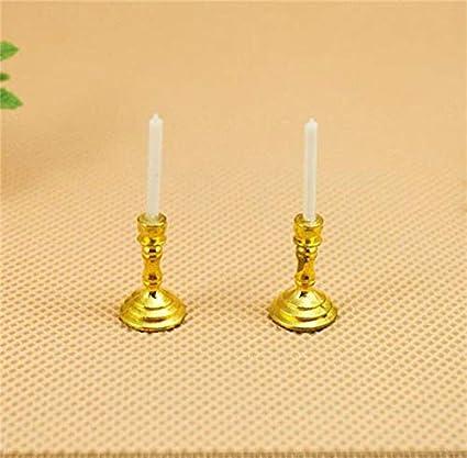 1:12 Dollhouse Miniature Furniture Room Mini Candlesticks White Candles 1 Pair