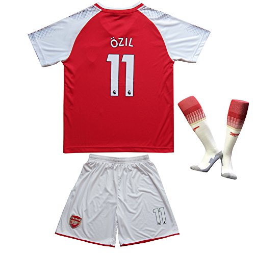 2017/2018 Arsenal Home #11 Mesut OZIL Football Futbol Soccer Kids Jersey Shorts Socks Set Youth Sizes (10-11 YEARS)