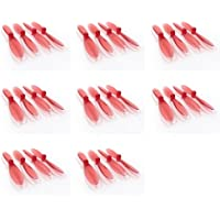 8 x Quantity of WLtoys Mini RC Beetle Transparent Clear Red Propeller Blades Props Rotor Set 55mm Factory Units