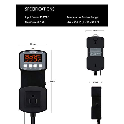 110 Volt Inkbird ITC-1000 Dual Stage Digital Temperature Controller Fahrenheit & Celsius Thermostat with Sensor for 3D Printer,Freezer,Fridge,Hatching ect.