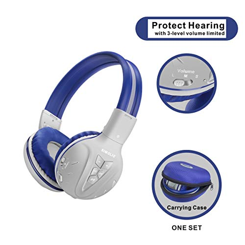 Kids Bluetooth Headphones with 75dB/85dB/94dB Volume Limited, Hearing Protection Kids Wireless Headset, Wireless Headphones for Kids, Bluetooth Boys Headphones with Hard case for School,Travel (Grey)