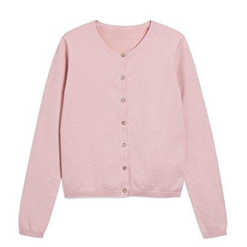 Khanomak Kids Girls Crew Neck Cardigan Sweater (Size 5/6, Baby Pink)
