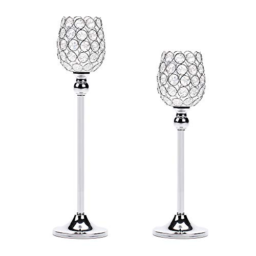 Manvi Silver Crystal Candle Holders Set of 2, Metal Pillar Tealight Candlestick Holders for Wedding Kitchen Dinning Table Centerpiece Decorative, Christmas Housewarming -