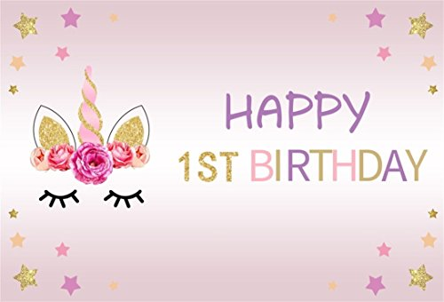 Baocicco 7x5ft Unicorn Backdrop Girls Happy 1st Birthday Party Backdrop Vinyl Photography Background Unicorn Horn Pink Flower Hot Stamping Font Colored Star Children Baby Girls Princess Portraits Prop -